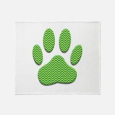 Dog Paw Print With Chevron Pattern Throw Blanket
