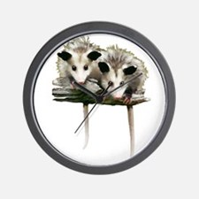 Baby Possums on a Branch Wall Clock