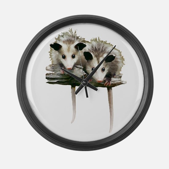 Baby Possums on a Branch Large Wall Clock