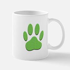 Dog Paw Print With Chevron Pattern Mugs