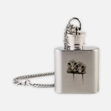 Baby Possums on a Branch Flask Necklace