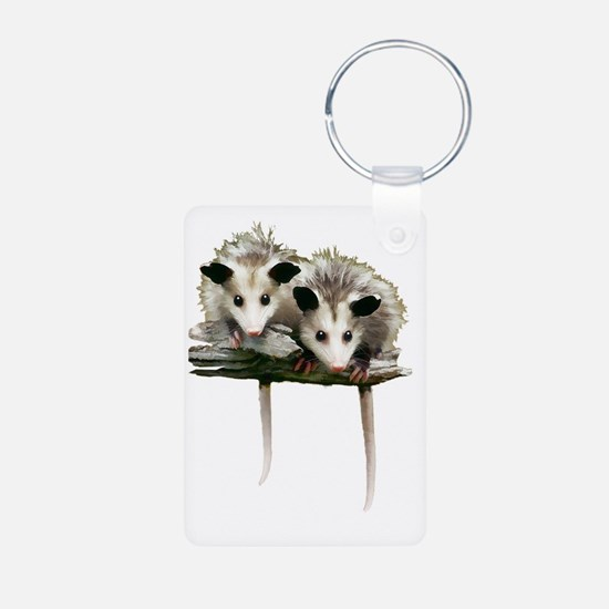 Baby Possums on a Branch Keychains
