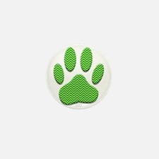 Dog Paw Print With Chevron Pattern Mini Button