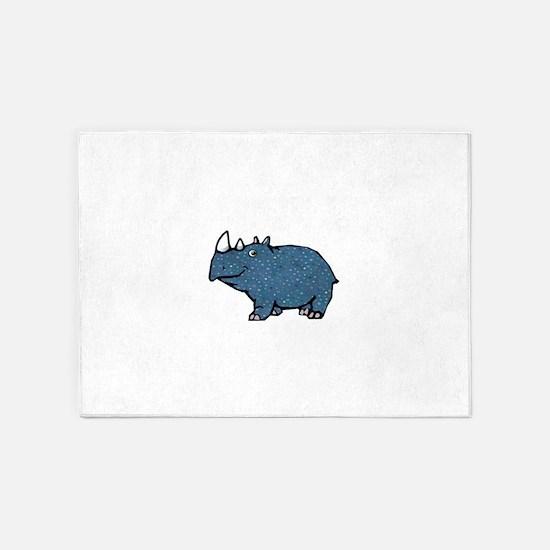 Blue Polka Dot Rhino 5'x7'Area Rug