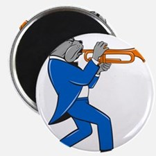 Bulldog Blowing Trumpet Side View Cartoon Magnets