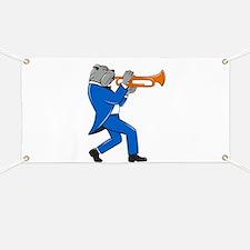 Bulldog Blowing Trumpet Side View Cartoon Banner