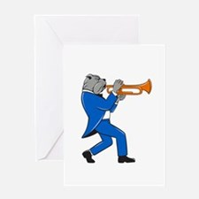 Bulldog Blowing Trumpet Side View Cartoon Greeting