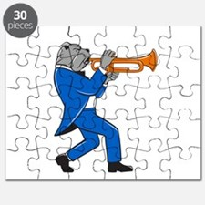 Bulldog Blowing Trumpet Side View Cartoon Puzzle
