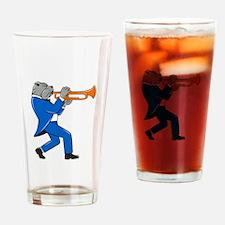 Bulldog Blowing Trumpet Side View Cartoon Drinking