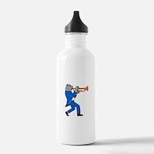 Bulldog Blowing Trumpet Side View Cartoon Water Bo