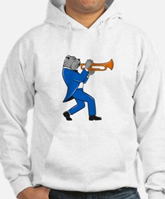 Bulldog Blowing Trumpet Side View Cartoon Hoodie