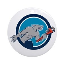 Wolf Plumber Monkey Wrench Circle Cartoon Ornament