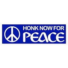 HONK NOW FOR PEACE Bumper Bumper Sticker