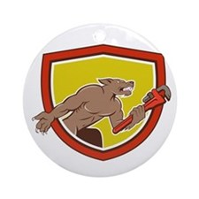 Wolf Plumber Monkey Wrench Shield Cartoon Ornament