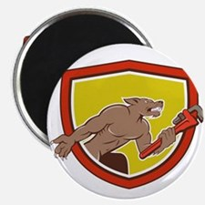 Wolf Plumber Monkey Wrench Shield Cartoon Magnets