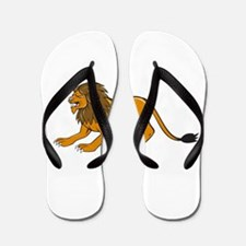 Angry Lion Crouching Side Cartoon Flip Flops