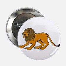 """Angry Lion Crouching Side Cartoon 2.25"""" Button (10"""