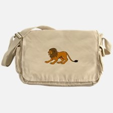 Angry Lion Crouching Side Cartoon Messenger Bag