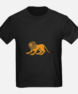 Angry Lion Crouching Side Cartoon T-Shirt