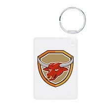 Texas Longhorn Red Bull Head Shield Cartoon Keycha