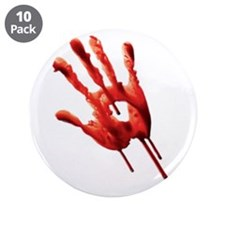 """Bloody Hand Print 3.5"""" Button (10 pack)"""