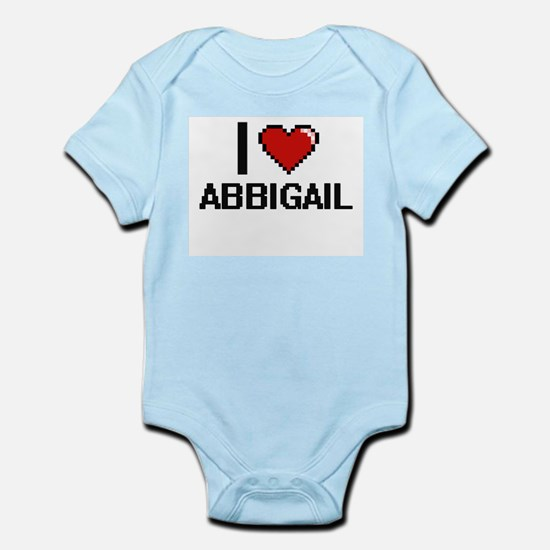 I Love Abbigail Digital Retro Design Body Suit