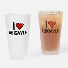 I Love Abigayle Digital Retro Desig Drinking Glass