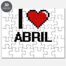 I Love Abril Digital Retro Design Puzzle