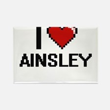 I Love Ainsley Digital Retro Design Magnets