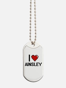 I Love Ainsley Digital Retro Design Dog Tags