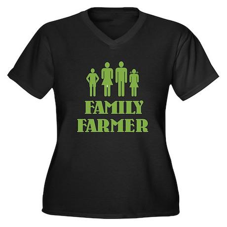 Family Farmer Women's Plus Size V-Neck Dark T-Shir