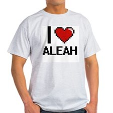 I Love Aleah Digital Retro Design T-Shirt