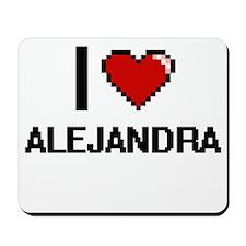I Love Alejandra Digital Retro Design Mousepad