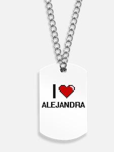 I Love Alejandra Digital Retro Design Dog Tags