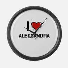 I Love Alessandra Digital Retro D Large Wall Clock