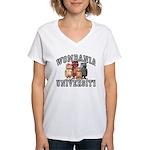 Wombania University Women's V-Neck T-Shirt