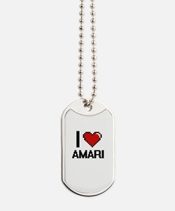 I Love Amari Digital Retro Design Dog Tags