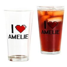 I Love Amelie Digital Retro Design Drinking Glass