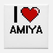 I Love Amiya Digital Retro Design Tile Coaster