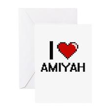 I Love Amiyah Digital Retro Design Greeting Cards