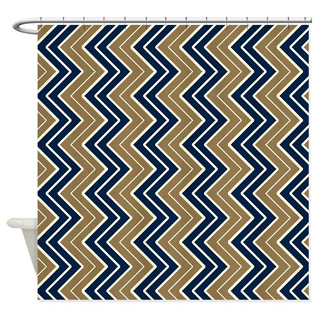 Navy And Gold Vertical Chevron Shower Curtain By CoolPatterns