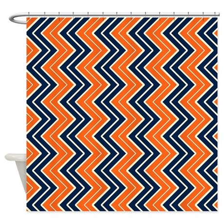 orange and blue vertical chevron shower curtain by coolpatterns. Black Bedroom Furniture Sets. Home Design Ideas