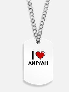 I Love Aniyah Digital Retro Design Dog Tags