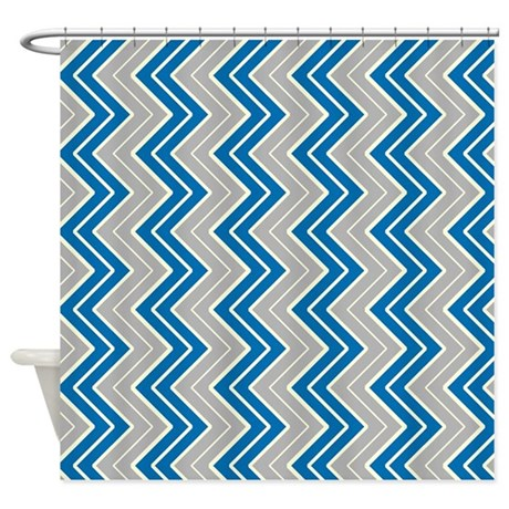 Silver And Blue Vertical Chevron Shower Curtain By CoolPatterns