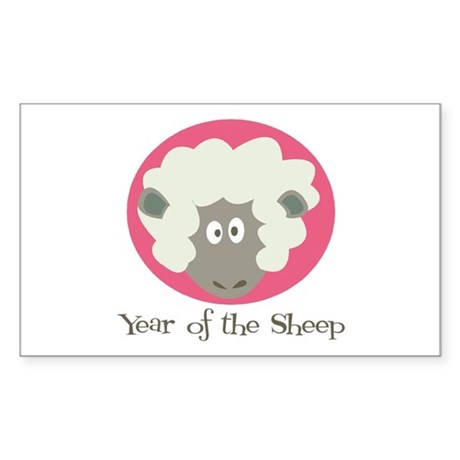 Cartoon Year of the Sheep Rectangle Sticker