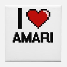 I Love Amari Digital Retro Design Tile Coaster