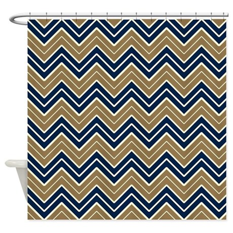 Navy and Gold Chevron Shower Curtain by CoolPatterns Gold And Navy Chevron Wallpaper