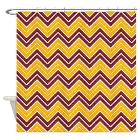 Burgundy And Gold Chevron Shower Curtain By CoolPatterns