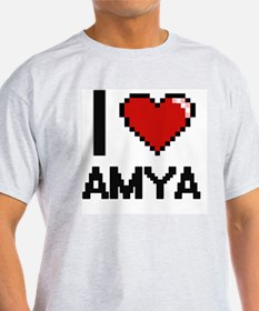 I Love Amya Digital Retro Desig T-Shirt
