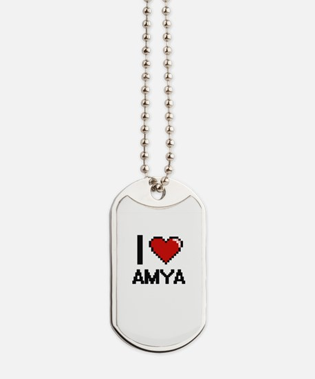 I Love Amya Digital Retro Design Dog Tags